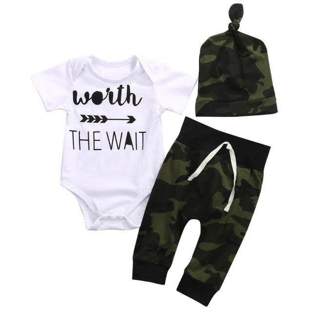 Army Green Newborn Baby Bodysuit
