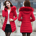 Плюс Размер 6XL 7XL Длинные женские Зимняя Куртка Женщин Парки 2017 женский Искусственного Меха Воротник Капюшоном Вниз Хлопок Теплое Пальто Для Женщин