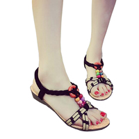 Summer New Fashion Casual Good Source of Materials Back Strap Leisure Solid String Bead Wedges Casual Women's Sandals Shoes