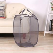 Foldable Pop Up Laundry Basket Washing Clothes Bag Hamper Nylon Mesh Storage Basket