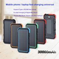 Solar Power Bank Waterproof 30000mAh Power Bank for IPhone Samsung Huawei Type C PD Fast Charging Quick Charge 3.0 USB Powerbank