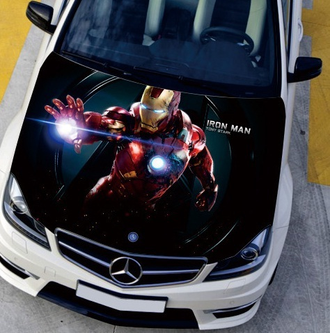 Fast Shipping 150 120cm Car Engine Hood Sticker Head Iron Man Cool Monster Styling Decal