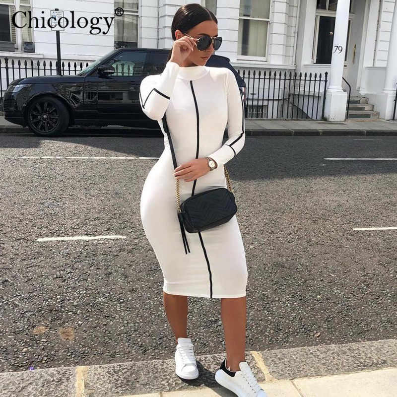 Chicology patchwork stripe bodycon midi dress 2019 summer autumn women elegant office outfit party female sexy club clothing