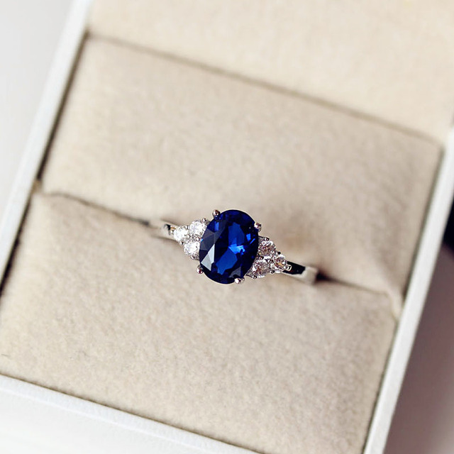 Fashion Vintage Amazing Graceful AAA+ Cubic Zirconia Royal Blue Ring Pave Setting Square Or Heart Oval Star Women Jewelry Gift