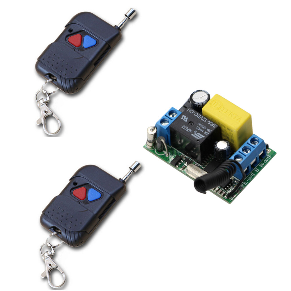 Smart Home New 220V 10A 1 Channel Wireless Relay Remote Control Light Switch RF Receiver Board With 2pcs Remote Controls zk2lm 2 channel dc12v 24v wireless remote control switch 10a relay receiver with 2pcs metal transmitter for smart home