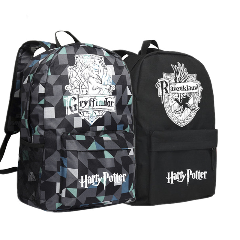 2017 New Harry Potter Hogwarts Gryffindor Hufflepuff Ravenclaw Slytherin School Bags Canvas Printing Backpack Mochila Women Bags