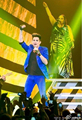 Adam lambert mesmo estilo de alta discotecas cantor DJ azul terno de três peças de roupas