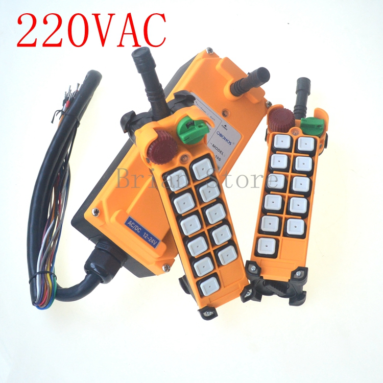 220VAC 10 channels 1 Speed 2 transmitters Hoist Crane Remote Control System Emergency-Stop new 2 transmitters
