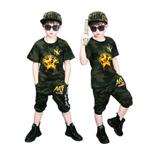 Kids Short sleeve cartoon Print T shirt Top and Camouflage Pants Set For Toddler and Baby Boys Clothes