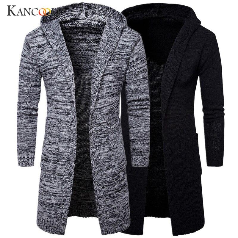 2017 Men Slim Coat Winter men's Long Sleeve Jacket   Trench   Stylish Cardigan knit Warm Knitwear Jackets for male Overcoat sp26