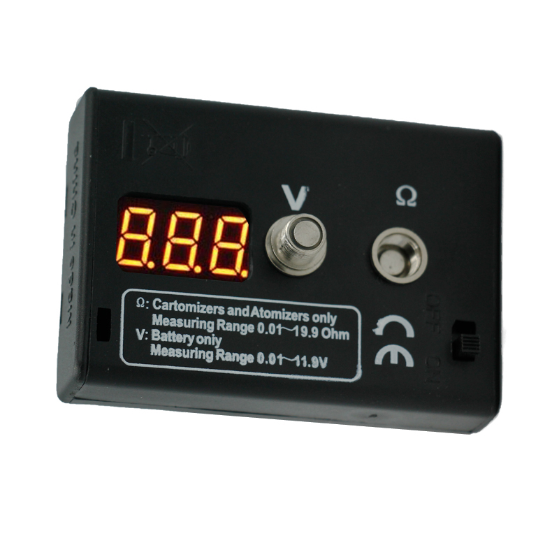 by dhl/fedex 100pcs/lot LED display Atomizer resistance tester ohm meter Reader Resistance Tester For Atomizer battery 40%off