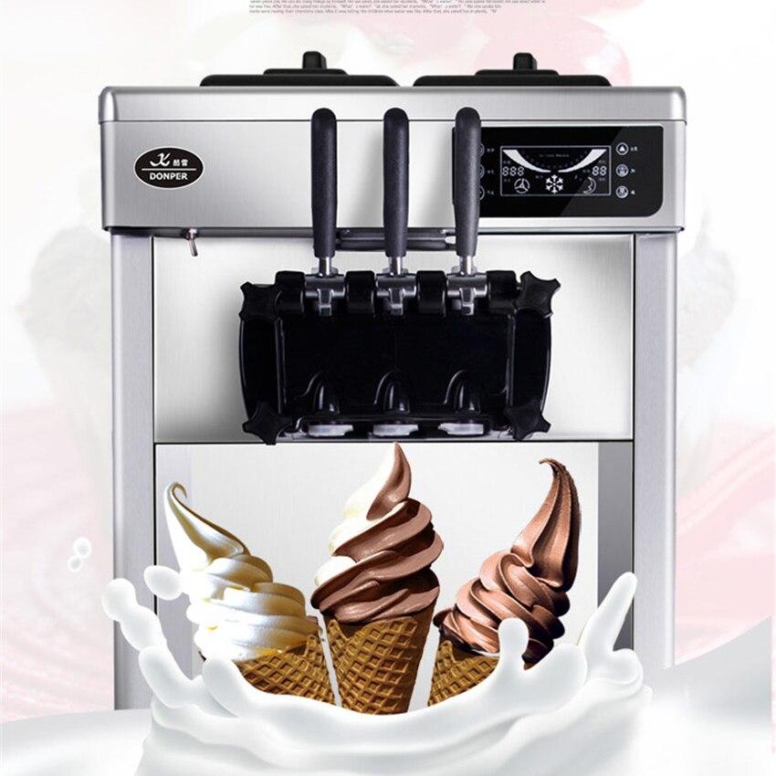22L/H 220V/ 50HZ commercial desktop soft ice cream machine in stainless steel LED sweet ice cream cone auto ice cream