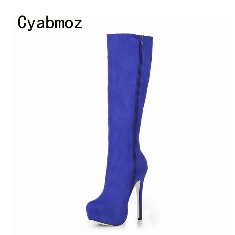 Cyabmoz Shoes Woman Knee High heels Women Platform Winter Boots Zapatos botas Mujer invierno Womens Party Valentine Dress shoes