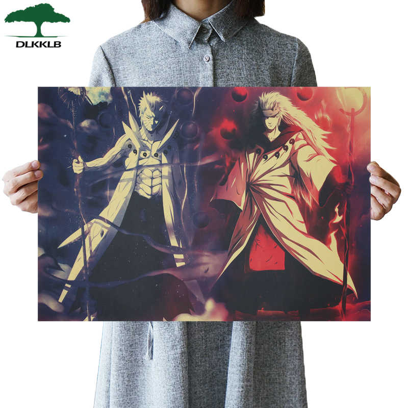 DLKKLB Classic Anime Naruto Retro Poster Vintage Kraft Paper Poster Bedroom Dormitory Home Decor Painting Cartoon Wall Sticker