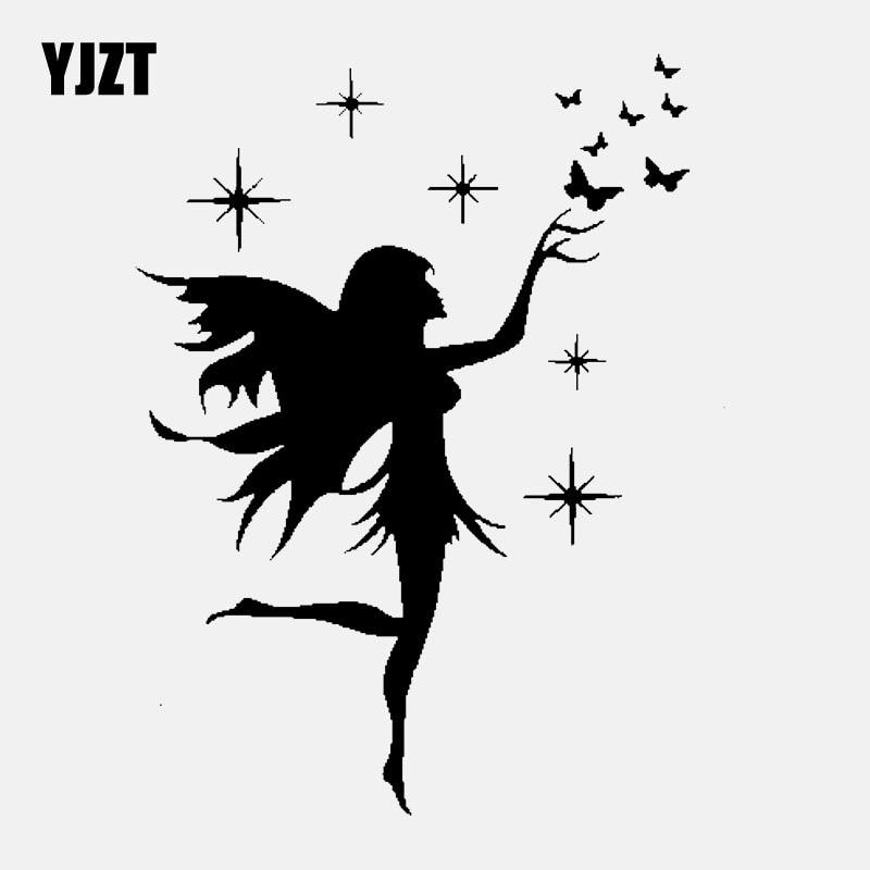 YJZT 13CM*16.9CM Car Sticker Fairy Butterfly Removable Decal Art Decor Vinyl Black/Silver C24-0187