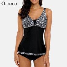 Charmo Women Two Piece Tankini Set Geometric Swimwear Floral Print Adjustable Stripe Swimsuit Bathing Suit Bikini