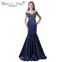VARBOO ELSA Purple Satin Mermaid Evening Dress Luxury Crystal Beaded Party Dress Deep V Neck Off