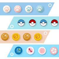 Es GoPokemon pulgar puños tapas para Nintendo NS interruptor 6 juegos de silicona antideslizante joysticks puños con botón de tapas para Nintendo Switch Lite Joy Con mango