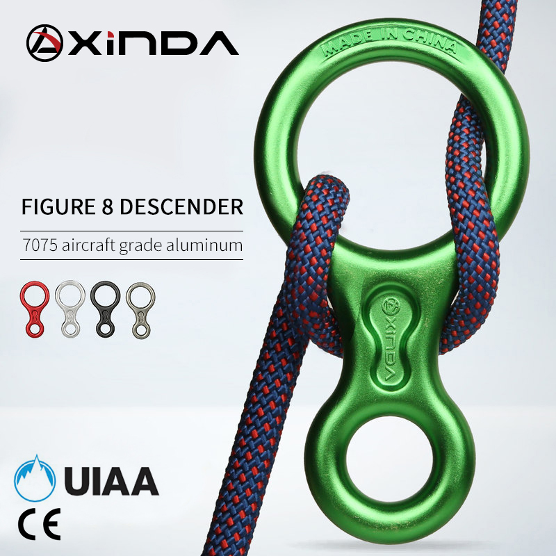 XINDA Rock Climbing Carabiner 8Shape Ring Abseiling Device 35KN Descender Belay Rappelling Rescue Eight Ring Outdoor Descent Kit