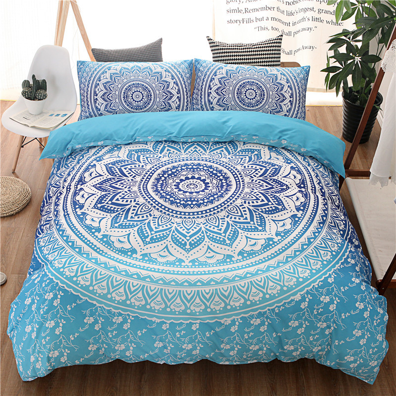bohemian blue duvet cover set with pillowcases twin full queen king bedspread bed linen bedding set