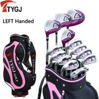 Бренд ttygj, 13 предметов Гольф клубы левша женские дамы гольф клубы полный набор графит и стальной вал с мешком
