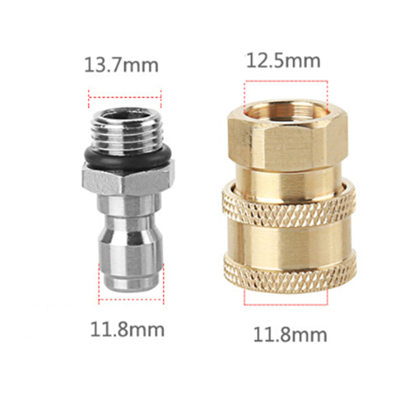 "1 Pairs Pressure Washer Quick Release M22//14 To 1//4/"" Plug Brass Connector New ^"