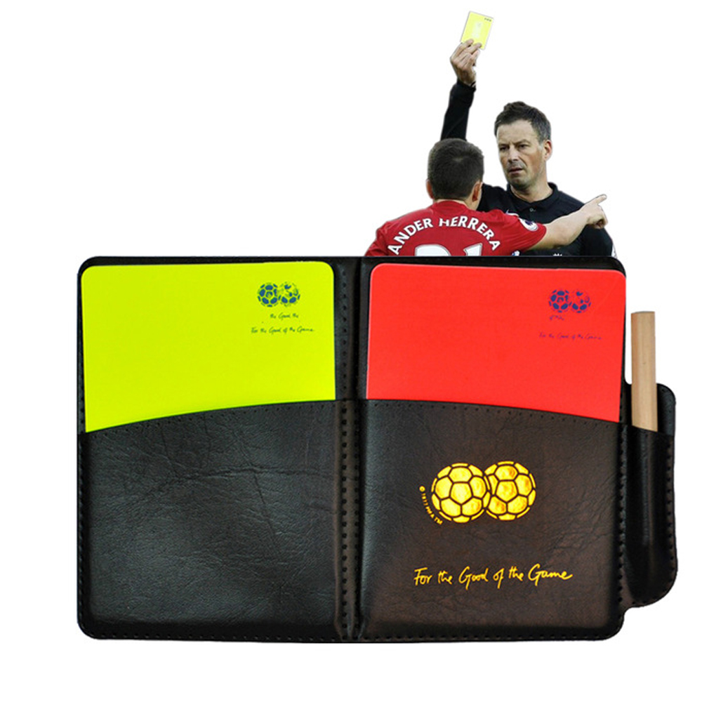 Soccer Referee Red Yellow Card Record Referee Tool With Leather Case And Pen Sport Match Soccer Sheet Set Note Notebook