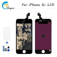 1 STKS Zwart-wit Nieuwe Merk AAA + Voor iPhone 5C Lcd-scherm met Touch Digitizer Montage met Gratis Tool + Gehard glas