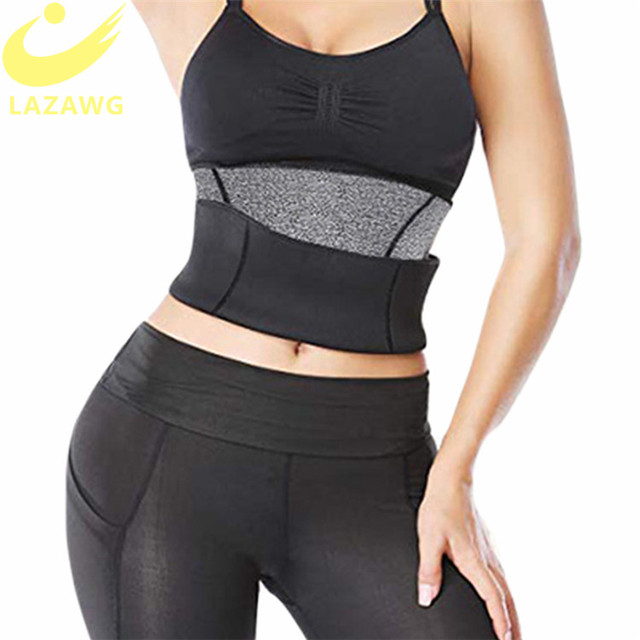 LAZAWG Women Waist Cincher Tummy Control Belt Hot Neoprene Sweat Girdle Waist Trimmer Slimming Body Shaper Modeling Strap Faja