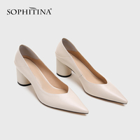 SOPHITINA High Quality Women's Pumps Genuine Leather Round Heel Shoes Casual Office Ladies Shoes Shallow Comfortable Pumps SO164