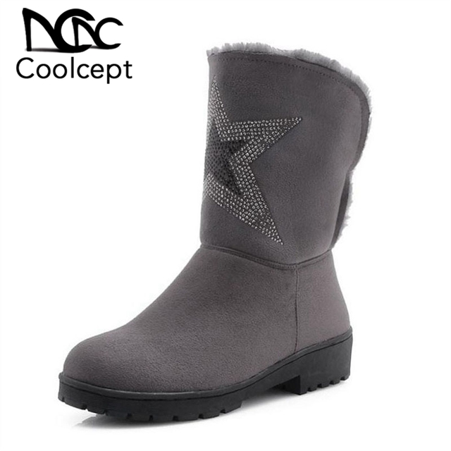 Coolcept Vintage Women High Heels Boots Plus Fur Warm Shoes Women Winter Mid Calf Snow Boots Party Fashion Shoes Size 33-43