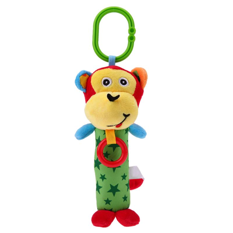 Funny Cartoon Monkey Bear Rabbit Baby Kids Rattle Toys Tinkle Hand Bell Plush Hanging Toys KIids Bell Toy