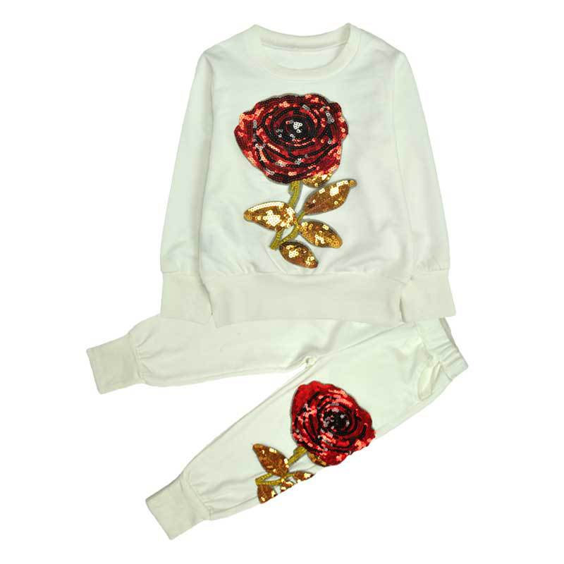 2017 new Spring/Autumn Sequin flower Girls Clothes Sets Kids Sport Suit Girl Baby Long Sleeve Embroidered  Children Clothing Set