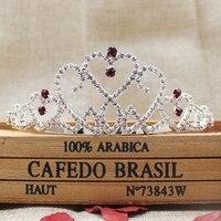 2.1inch elegant silver rhinestone wedding bridal tiara hot pink homecoming princess hair decoration jewelry headband tiara