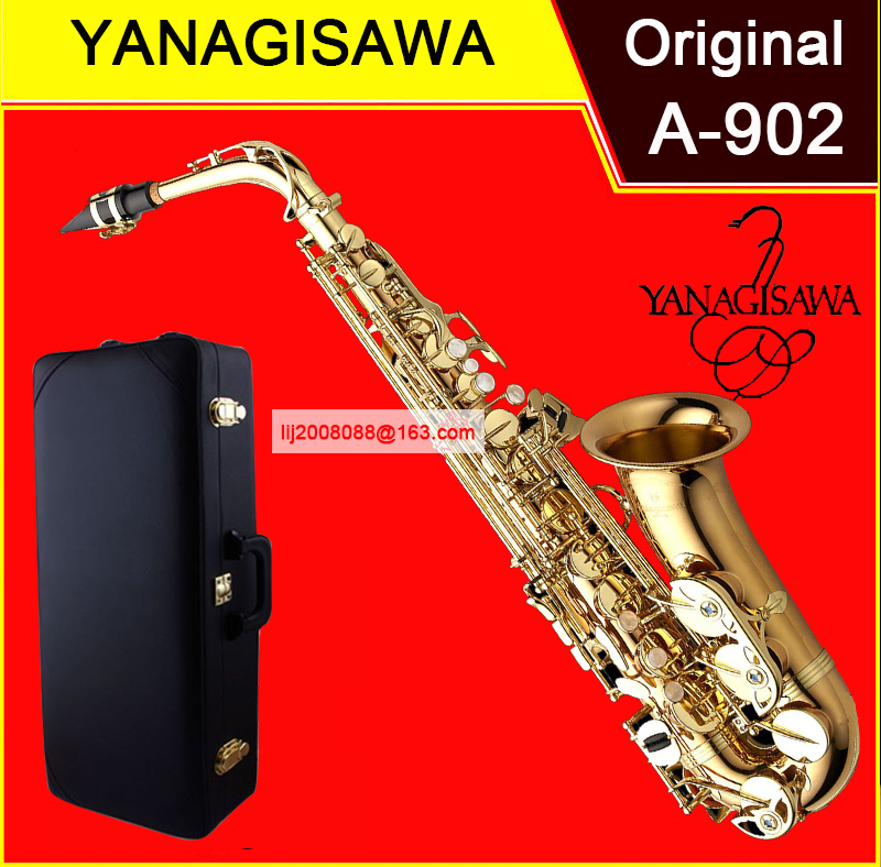 High Quality Japan Yanagisawa A-902 Eb Alto Saxophone Electrophoresis gold Alto sax Professional Musical Instruments with Case alto sxm112 a