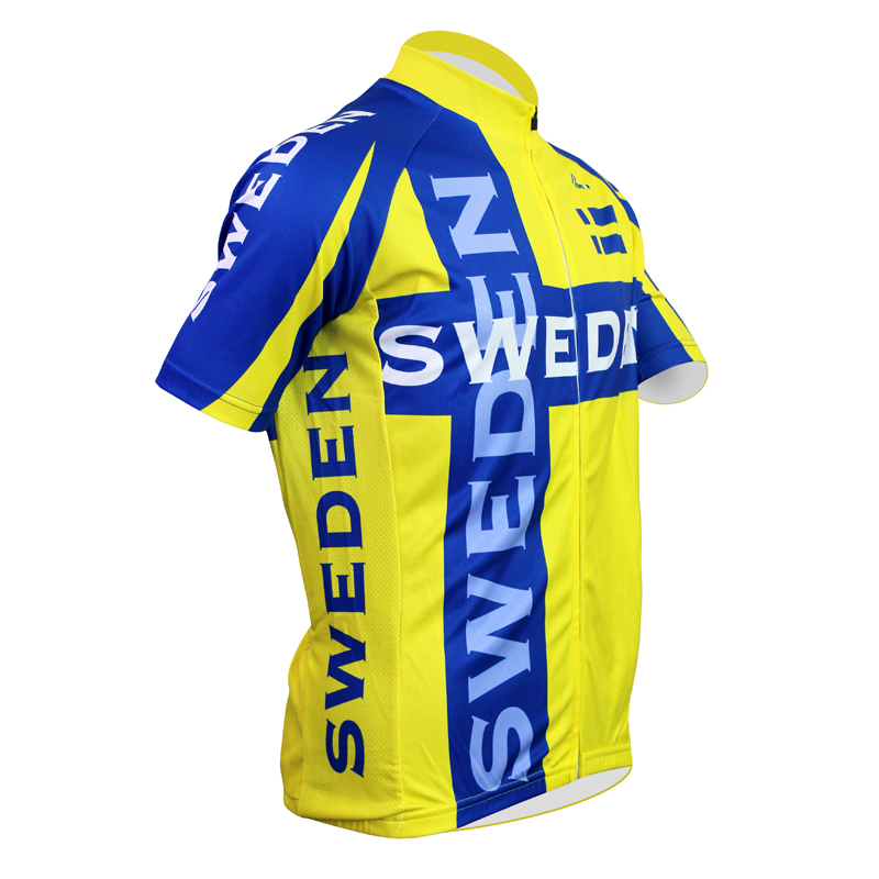 62e0e37b8 New Free shipping SWEDEN Men Polyester Short Sleeve Cycling Jersey Yellow Full  Zipper Cycling Clothing Quick Dry Bike Shirt-in Cycling Jerseys from Sports  ...