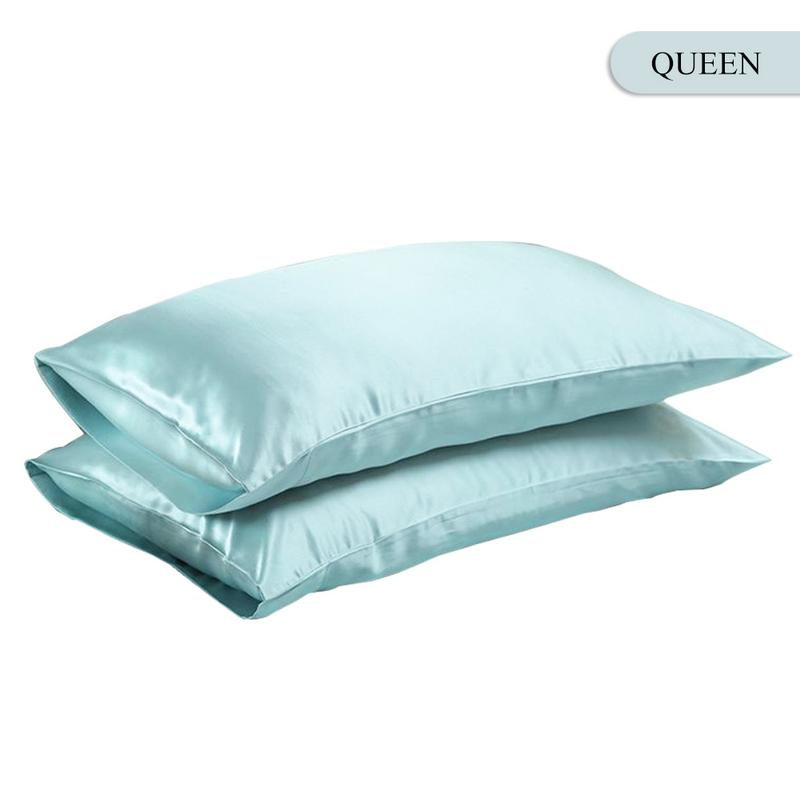 Queen/KING Silk Satin Pillow Case Bedding Pillowcase Smooth Home White Black Grey Khaki Sky Blue Pink Sliver 17