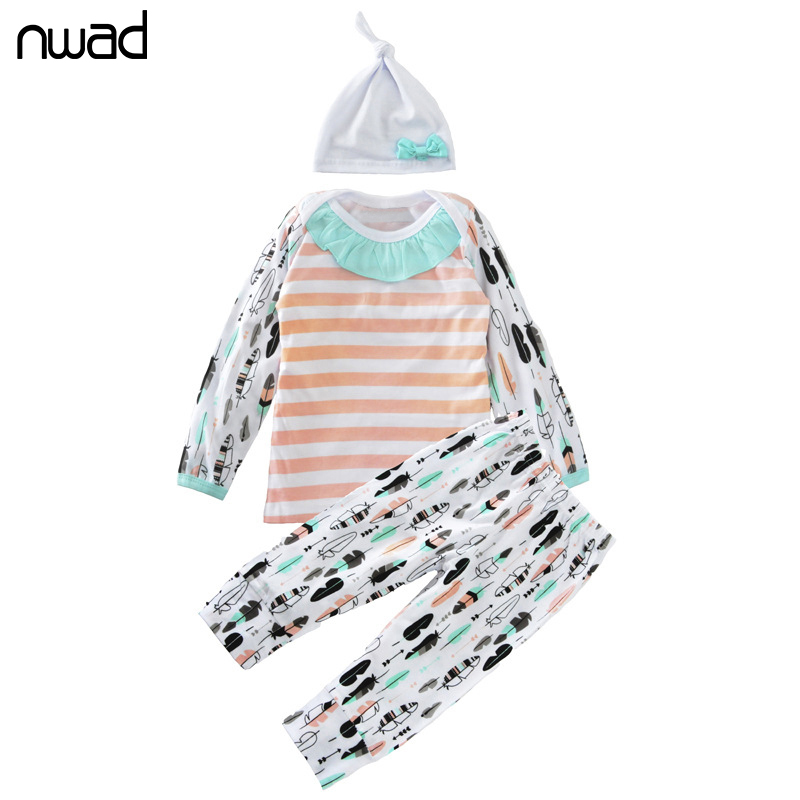 3Pcs/Set Baby Girl Clothes 2017 Spring Autumn Striped Print Clothing Suit For Toddler Girls Clothes Set Newborn Clothing FF298