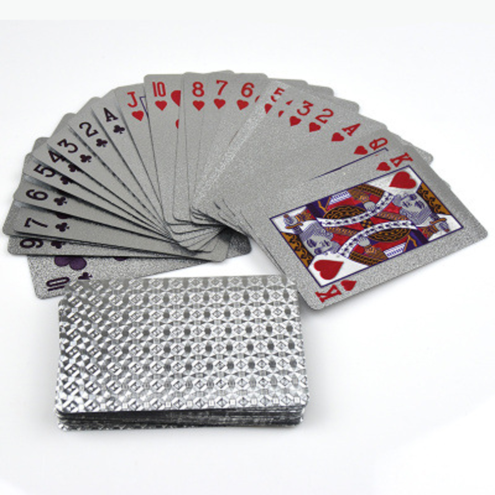 Silver Foil Poker Creative Models Waterproof Color Plastic Poker Favorite Playing Card Gold