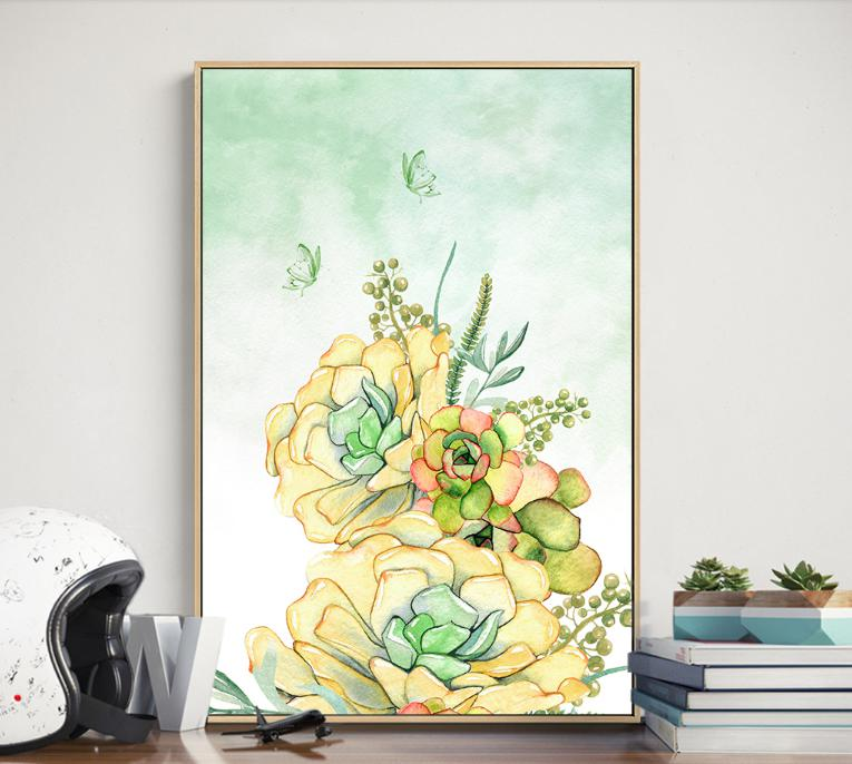 OKHOTCN Unframed 3 Pieces/Set Colorful Plants Canvas Painting ...