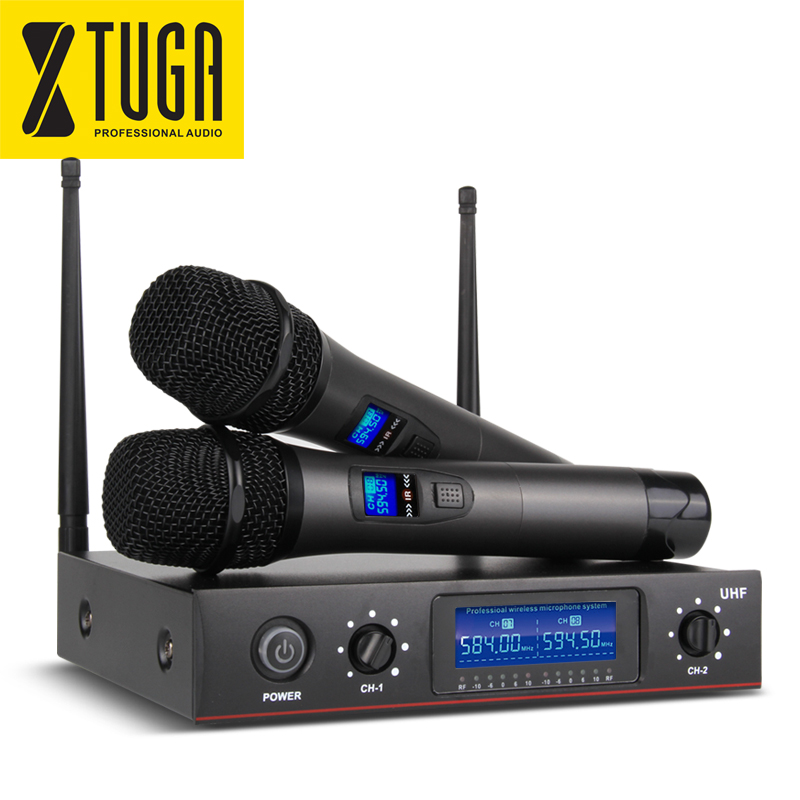 xtuga e220 wireless microphone xiao mi uhf two channel cordless system whole metal 2 mic party. Black Bedroom Furniture Sets. Home Design Ideas