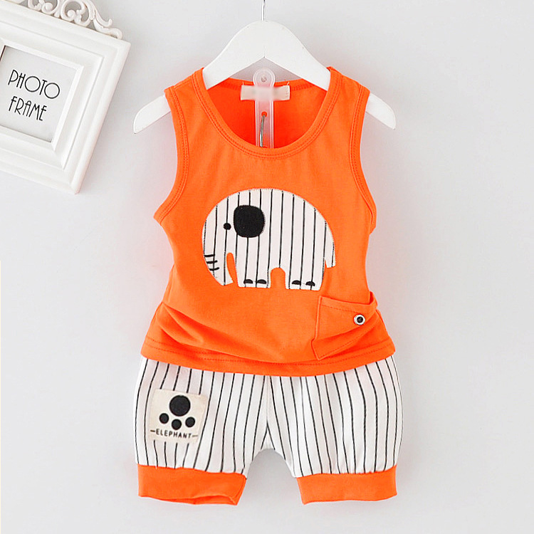Summer Kids Clothes Set Cotton Cartoon Baby Boy Girls Clothing Set Children Sport Suit Vest+ Stripe Shorts 2pcs Minions DS29 summer kids clothes suit for girls 3 13 years children army green cotton shirt clothing set boys girls clothing sport suit 174b