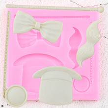 Magic Hat Glass Mustache Bow Silicone Mold DIY Sugarcraft Cupcake Topper Fondant Cake Decorating Tools Candy Chocolate Moulds(China)