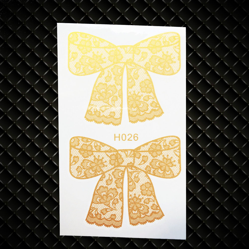 0ef721dd4e818 Children Gold Bowknot Temporary Tattoo Metallic Waterproof Fake Tattoo Bow  Sticker Kids GGH026 Henna Flash Tattoo Golden Color