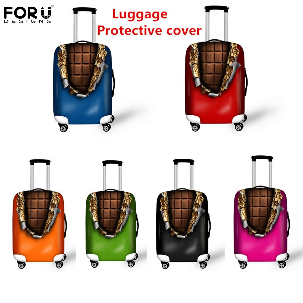 FORUDESIGNS Hot Sale 3D Chocolate Travel Accessories Protective Luggage Cover For 18-30inch Suitcase Case Waterproof Dust Covers ...