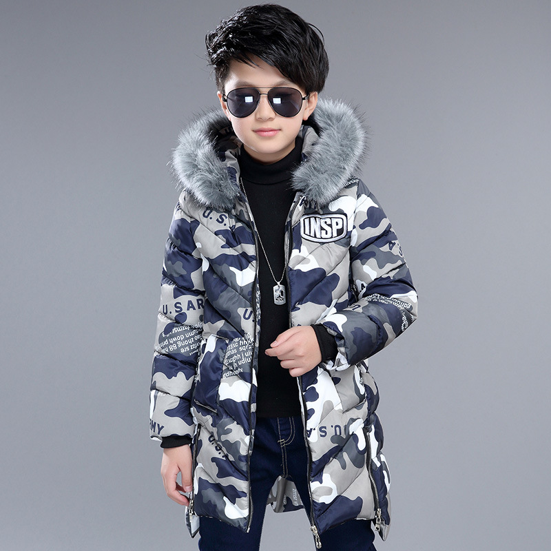 Fashion Boys Winter Jackets Children Hooded Thick Cotton Down Coats Baby Boys Cold Winter Outwear Fur Collar  For 6-16 Years 2017 fashion teenage girl winter down jackets fur collar children coats warm thick kids outerwears for cold 30 degree jacket