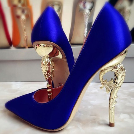 Celebrity Luxury Metal Hippocampus Heels Pumps Gold Heels Dress Shoes Blue Red Glossy Satin Fabric Banquet Shoes Wedding Pumps