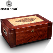 Cedar Wood Cigar Humidor Box Yellow Moisturizing Humidor Cabinet Cigar Case With Hygrometer Humidifier HH-1904 50 pcs large capacity cigar box high quality cedar wood humidor constant humidity cigar cabinet w hygrometer