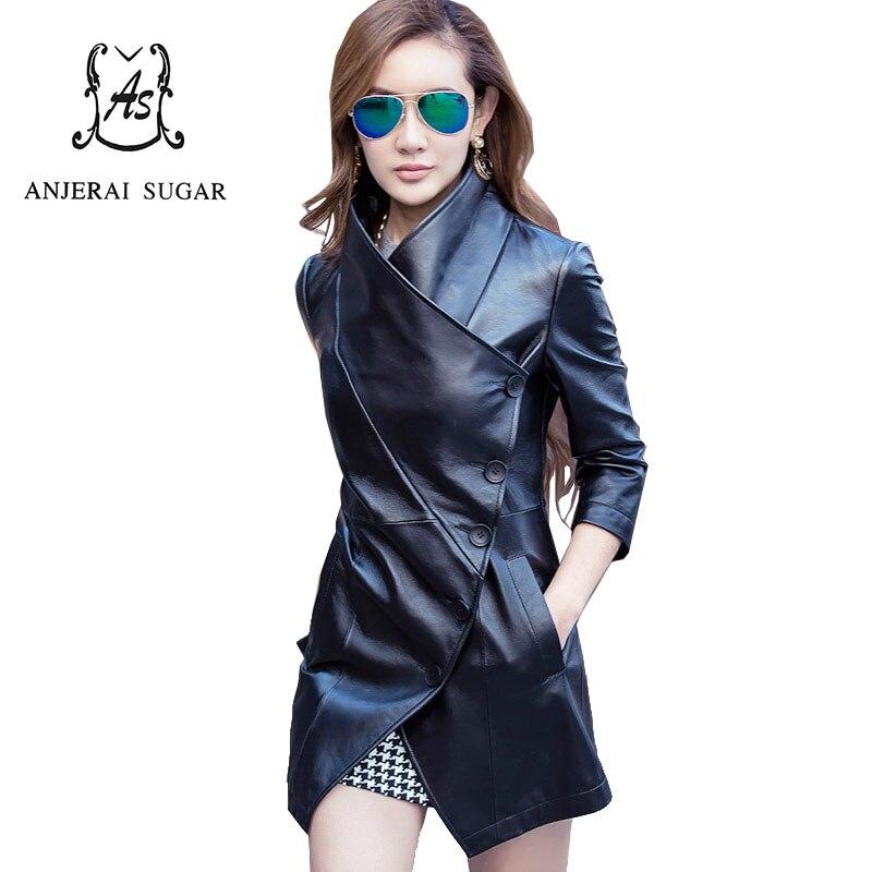 Black women   leather   jacket and coat oblique PU Faux   Leather   autumn female korea slim cazadoras de cuero abrigos mujer invierno