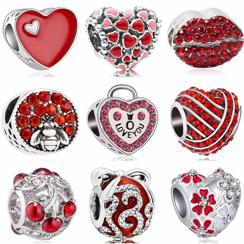 Maxi Red Color Jewelry Tree Pine Cone Lock Music Flowers Enamel Beads Fit Pandora Charms Bracelets for Women DIY Femme Perles